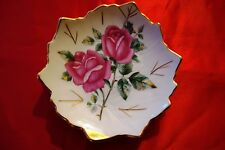 "Polish WAWEL  China dish 4"" leaf shape, gilt edge rose pattern trinket, butter"