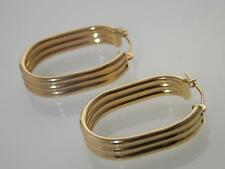 14KT YELLOW GOLD OVAL SHAPE HOOP EARRINGS WITH GROOVES 6mm-WIDE