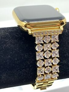 24K Gold Plated 44MM Apple Watch SERIES 4 Gold Link Band Diamond Rhinestones LTE