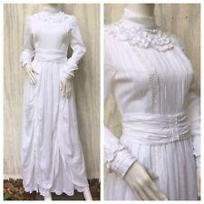 Dress Vintage LAURA ASHLEY 80s Prairie Temple Wedding Festival White Victorian