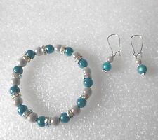 Turquoise Miracle Bead Bracelet and Earring Set with Optional Necklace