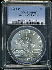 1986-P Statue of Liberty Commem.Silver $ PCGS MS68 SPOT FREE .7734 oz Silver