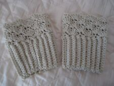 Handmade Crochet Boot Cuffs Leg Warmers Ivory Trendy Style Ladies Accessory