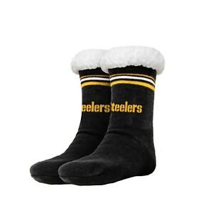 Pittsburgh Steelers Women's Stripe Logo Tall Footy Slippers - Size 6-10 Non Skid
