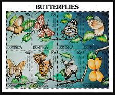 Dominica - Schmetterlinge Kleinbogen postfrisch 1997 Mi. 2258-2265