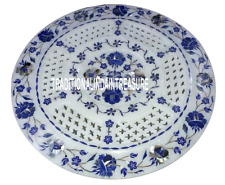"12"" White Marble Coffee Table Serving Dish Tray Lapis Inlaid Decorative  Decor"