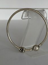 Authentic Pandora Sterling Silver Bangle with Pandora Sterling Silver Charm