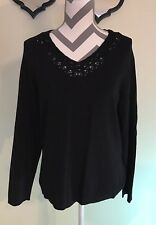 Jones New York Collection Women's L/S Black Knit Crochet V-Neck, Size XL Used