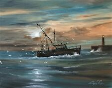 """Digby Page  Original Acrylic  'Bringing in the Catch'  Size: 16"""" x 20"""""""