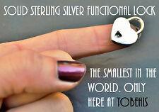 SOLID 925 Sterling Silver Working Heart Padlock Lock  BDSM Slave Bondage Collar
