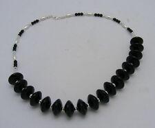 Barse Sterling Silver Jet Black Onyx Heavy Necklace 925