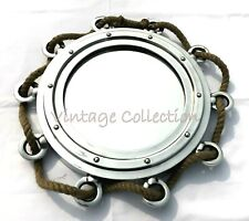 """16"""" Antique Maritime Porthole Mirror with Jute Rope Nautical Home Wall Decor"""