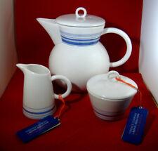 ROYAL DOULTON TERENCE CONRAN 3 PIECE TEA SET BLUE TEAPOT CREAMER SUGAR BOWL NEW