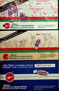 BANGLADESH BIMAN 3 OLD AIR LINE USED TICKETS WITH REVENUE VALUES UNCOMMON