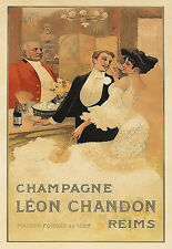Art Ad Champagne Leon Chandon Reims  Drink  Deco Poster Print