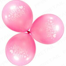 100x Hot Pink Printed Party Balloons Bright Colour Happy Birthday Baloons Latex
