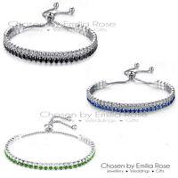 Ladies 2 Layer Silver Adjustable Bridesmaid Bracelet Cubic Zirconia Crystal Gift