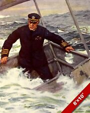 CAPTAIN GOING DOWN WITH THE SHIP WWI WORLD WAR 1 ART PAINTING REAL CANVAS PRINT
