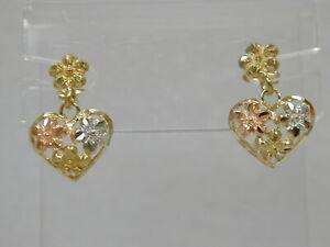 SPARKLING 10K TRI COLOR GOLD HEARTS & FLOWERS DANGLE/DROP EARRINGS~