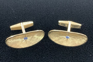 *Vintage Tiffany & Co. 14K Gold / Blue Sapphire Oval Cuff Links 8.7 Grams