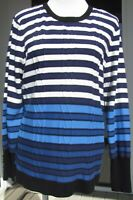 NWT Karl Lagerfeld blue/white/navy stripes top. Long sleeves, round neck. XLarge