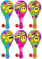 6 Smiley pagaie chauves-souris en bois-sac de partie / butin charges Kids / BIFF / Visage Heureux