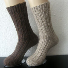 2 Pair Men's Socks With Alpaca Wool Chunky Knitted Nature and Brown 43 to 46
