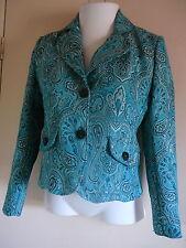 Women's Jacket Ninety Sz 6 Polyester Blue Green Lined Gometric