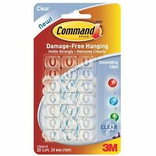 Command Decorating 20x Clips Hook with Clear Strips Transparent Damage Free17026