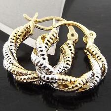 Gold Antique Twist Drop Hoop Earrings Fsa036 Genuine 18Ct Yellow & White G/F