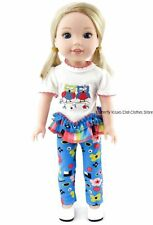 Owl Shirt & Flower Leggings 14.5 in Doll Clothes For American Girl WellieWishers