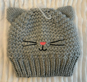 NWT BABY GAP Gray Knit KITTY CAT Sweater Hat Toddler  S/M