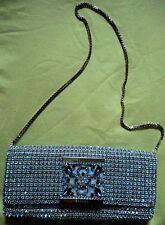 ESCADA Vintage 80s Blue Rhinestones Hand Bag Purse Silver Chain Clutch Baguette