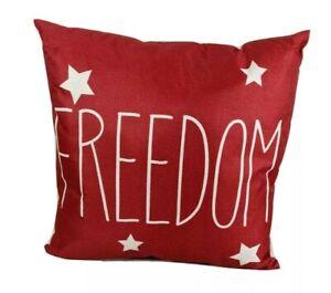 New Homemade Farmhouse FREEDOM Patriotic throw pillow NWOT