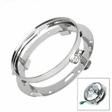 "7"" Chrome Round LED Headlight Mounting Bracket Ring For Harley Jeep Wrangler JK"