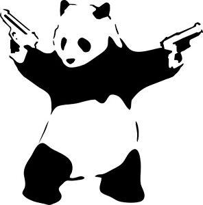 BANKSY PANDA WITH GUNS STENCIL REUSABLE FROM A4 180 mc
