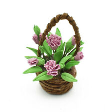 47*19mm Dollhouse Clay Flower Basket Miniature Potted Plants Kid Toy Decor
