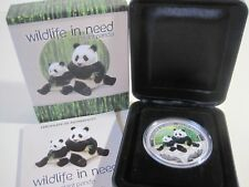 2011 Tuvalu Wildlife in need Panda Géant 1 oz (environ 28.35 g) SILVER PROOF couleur coin