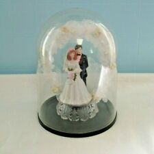 1980s Vintage Wedding Cake Topper, Porcelain Couple, Silk Floral Arch, Dome