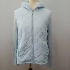 NOS Lightweight Hooded Quilted Jacket Women's Size XL Light Blue Sweater