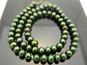 "Genuine Freshwater Pearls Dark Green Almost Round Small 6mm Beads Strand 15.5"""
