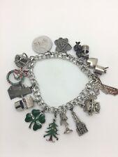 Vintage Sterling Silver Enamel 16 Charm Bracelet Christmas Clover No Reserve NR