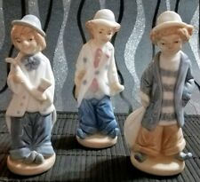 Set Of 3 Collectible Vintage Ceramic Clown Musician Figurines