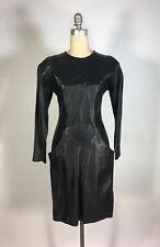 Vintage 1980s-1990s BLACK LEATHER HBIC dress w/pockets & bustle rear by West Bay