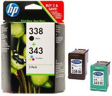 Genuine Original HP 338 Black and HP 343 Tricolour Ink Cartridges warranty 2018