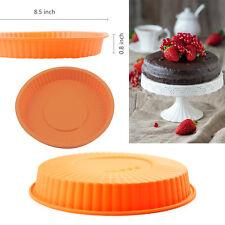 """8.5"""" Round Silicone Pizza Baking Mold Quiche Brownie Pie Dessert Tart Cake Pan"""