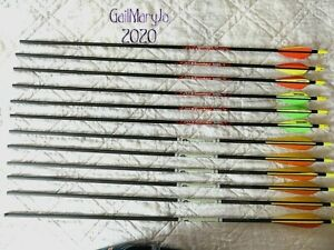 "LOT OF 12 NICE ""NEW"" CARBON ARROWS 26"" 6 ARE GOLD TIP #5575 & 6 ARE BEMAN HUNTER"