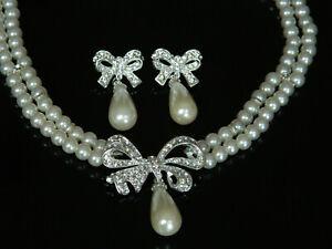 Ladies Pearl Bowtie Jewellery Set Drop Earrings Choker with Rhinestones Bridal