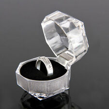 2 X Transparent Acrylic Ring Earrings Jewelry Crystal Display Box Organizer Case