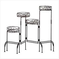 HOME DECOR WROUGHT IRON MULTI-LEVEL FOUR-TIER PLANT STAND